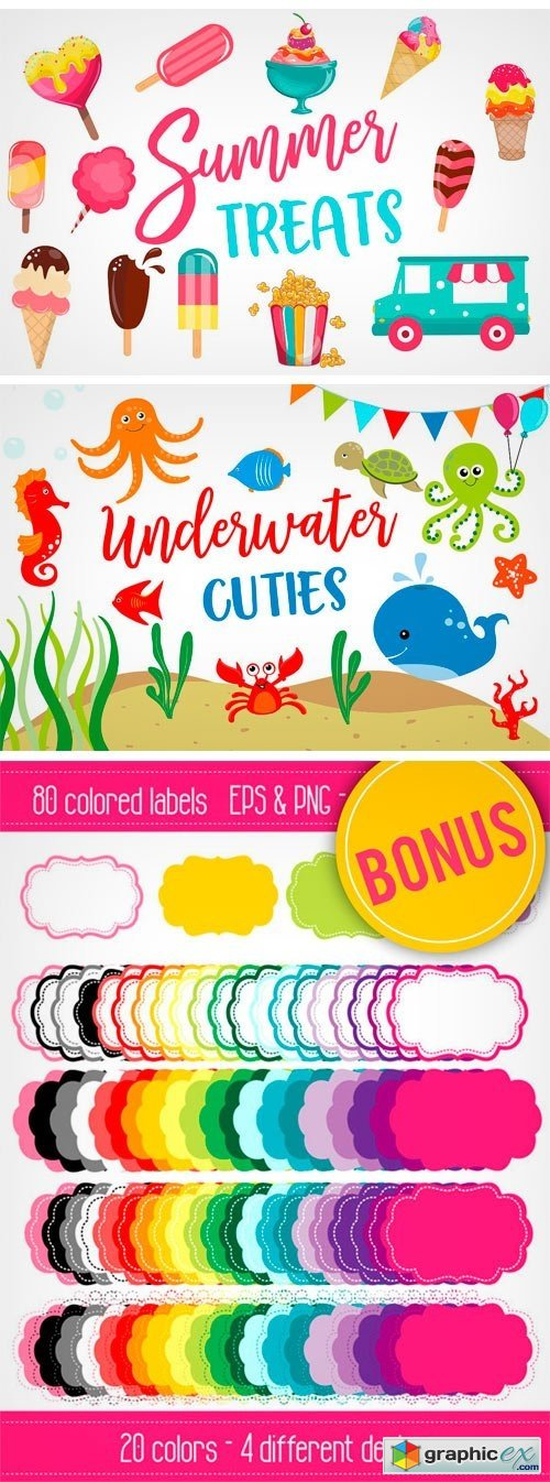 Summer Clipart Bundle - 126 Cliparts
