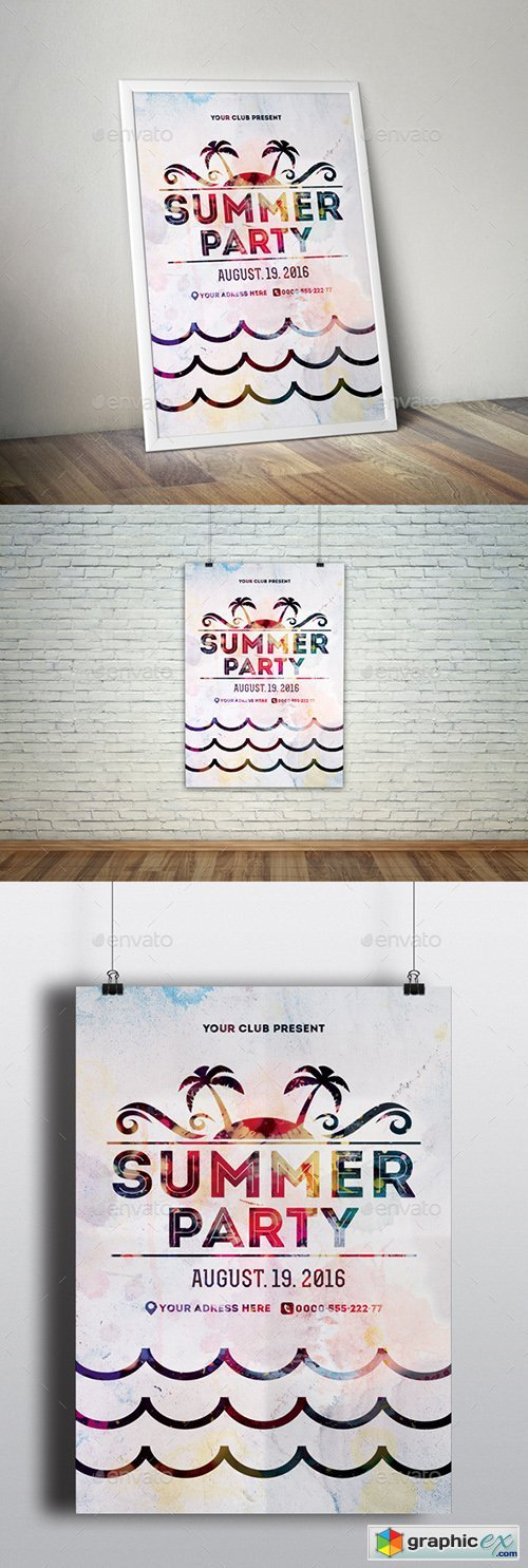 Bright Summer Party Poster Template