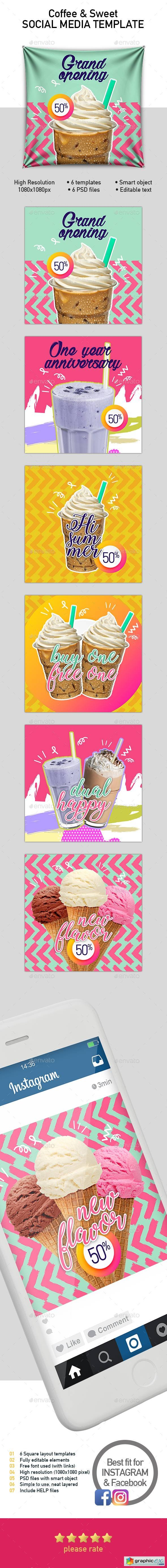 Set 6 Instagram Templates for Food and Drinks Business