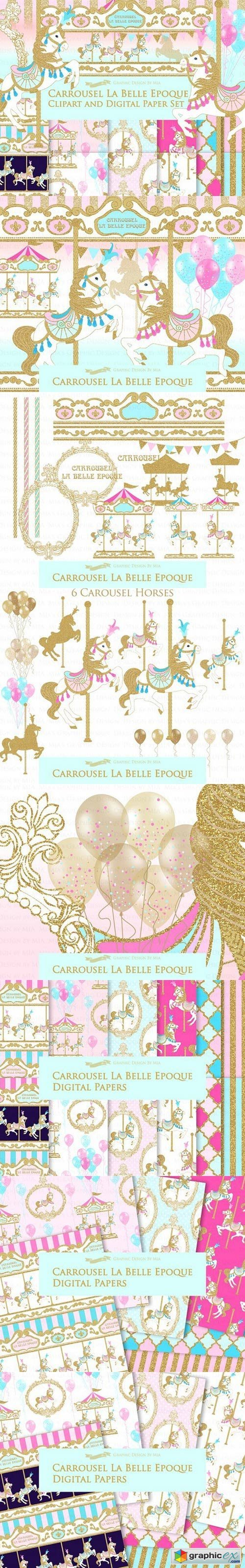 Gold Carousel Clipart+Pattern
