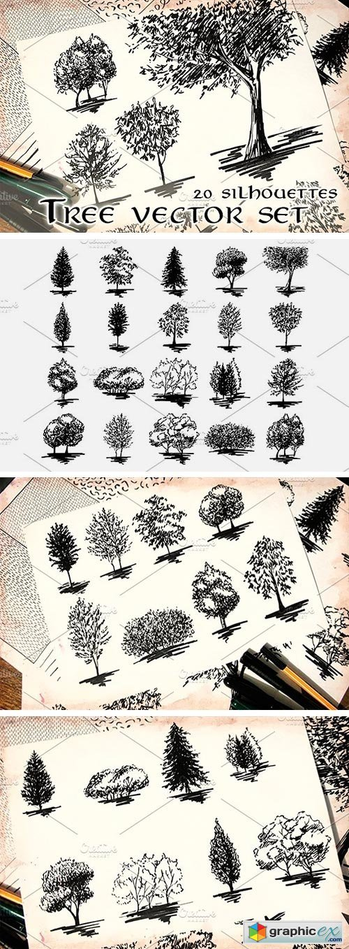 20 Tree Silhouette Sketch Set Vector