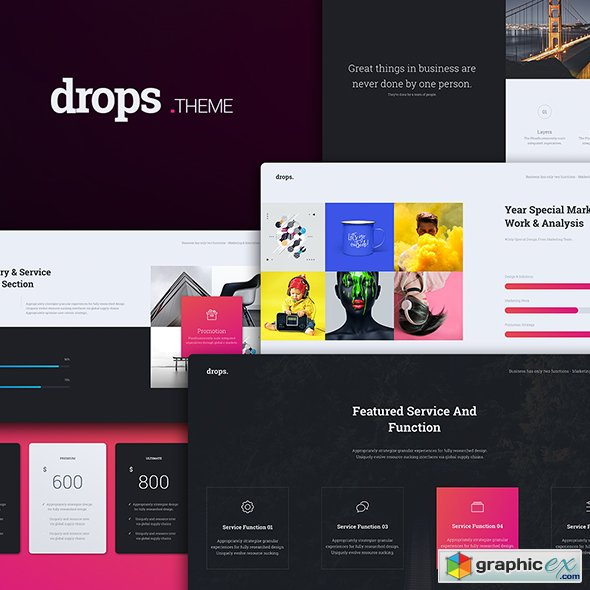 drops multipurpose & creative powerpoint template » free download, Modern powerpoint