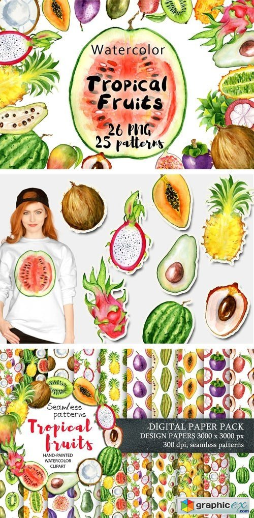 Watercolor Tropical Fruits Clipart