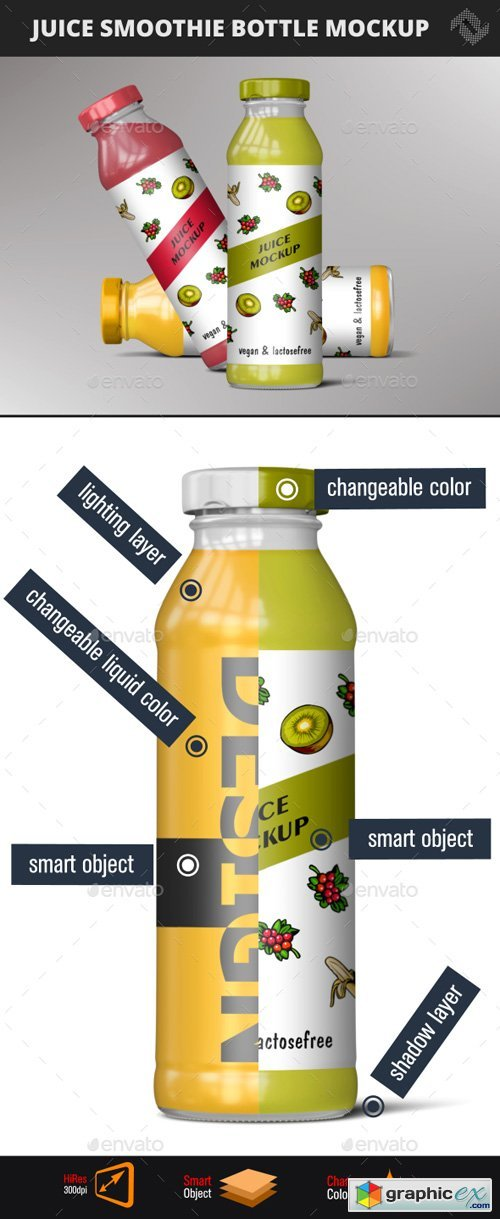 Juice Bottle Smoothie Mockup