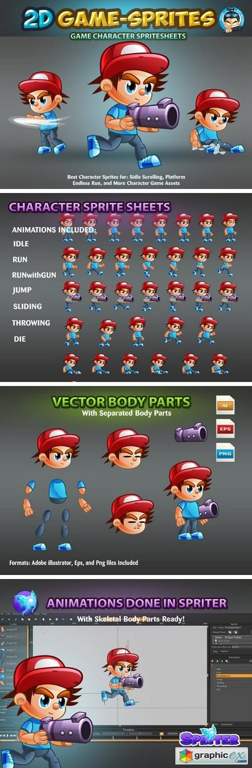 2D Game Character Sprites 1625869 » Free Download Vector