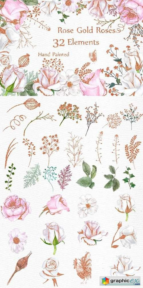Rose Gold watercolor flowers clipart