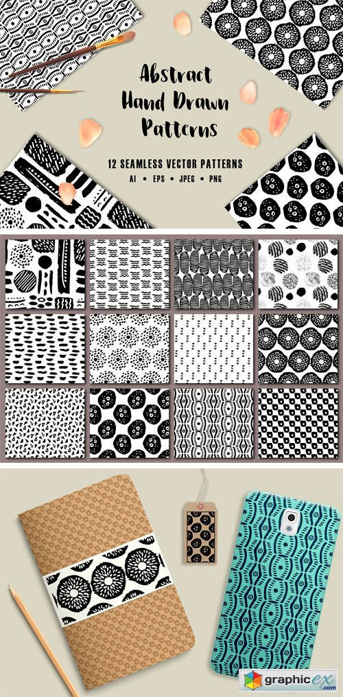 12 Abstract Hand Drawn Patterns