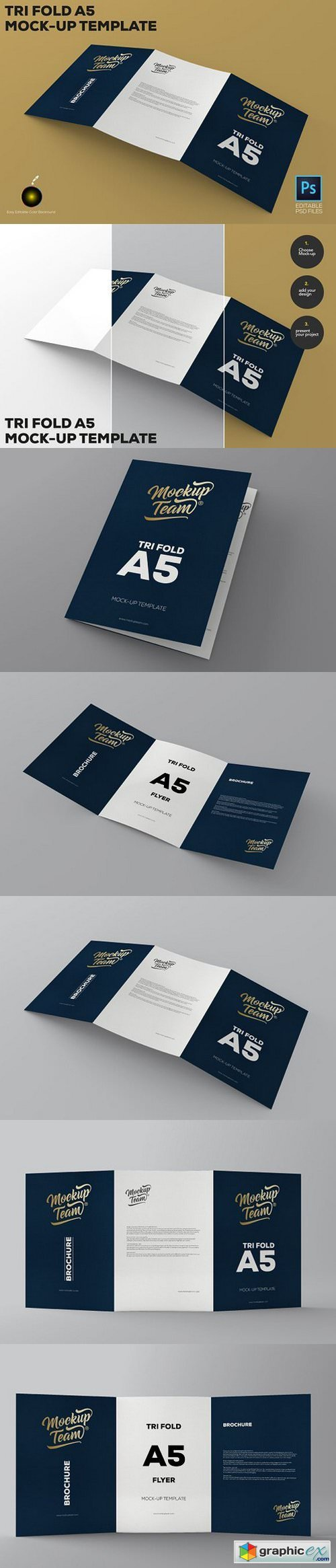 Tri-Fold A5 Brochure Mock-up 1643804