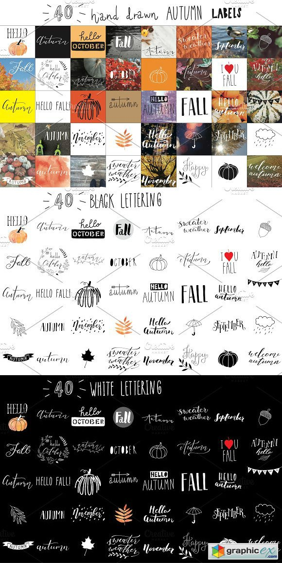 Hand lettering AUTUMN labels