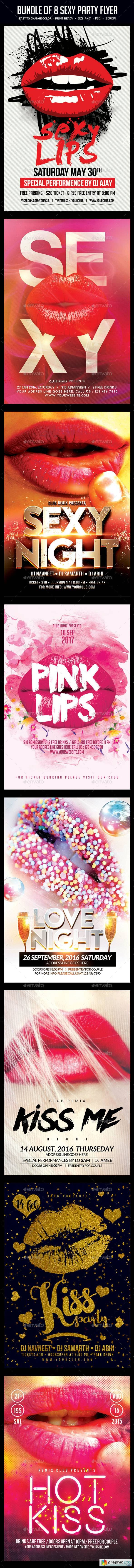 Bundle of 8 Sexy Party Flyers
