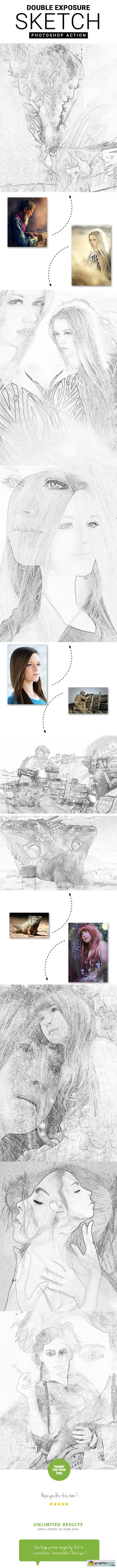 Double Exposure Sketch Photoshop Action