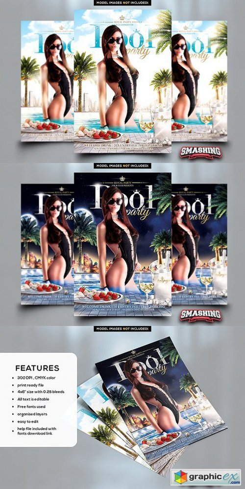 Royal Pool Party Flyer Template