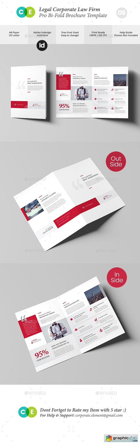 Legal Corporate Law Firm Business Bi-Fold Brochure V06