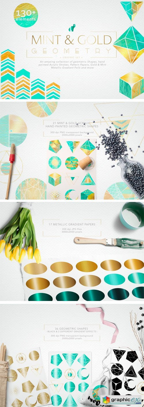 Mint & Gold Geometry Collection