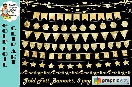 Gold Foil Bunting Clip Art