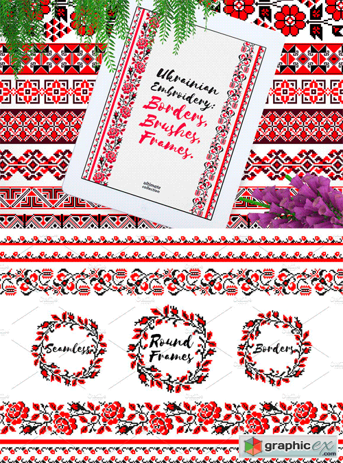 Ukrainian Embroidery Brushes Frames Free Download Vector Stock