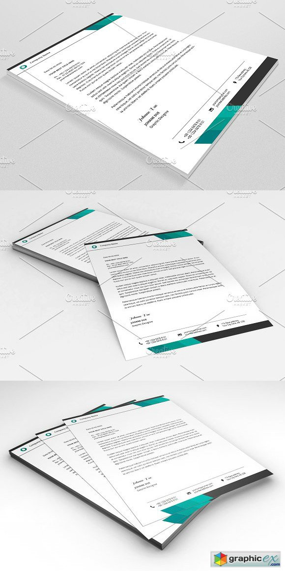 Letterhead Template V16 Free Download Vector Stock Image