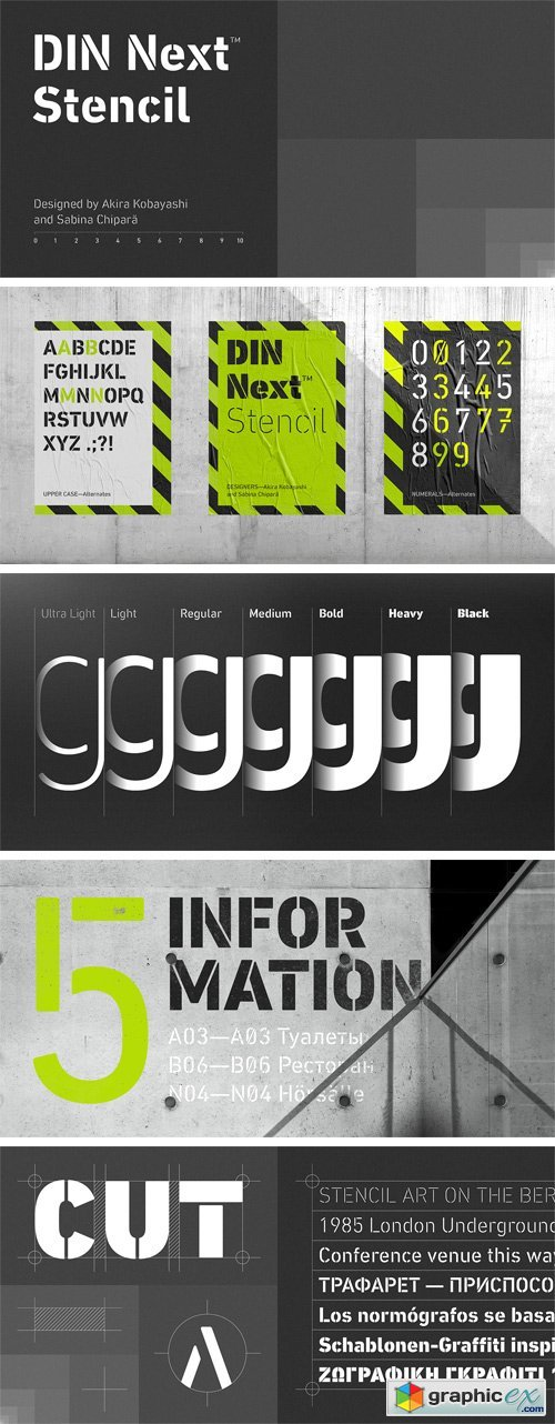 DIN Next Stencil Font Family » Free Download Vector Stock