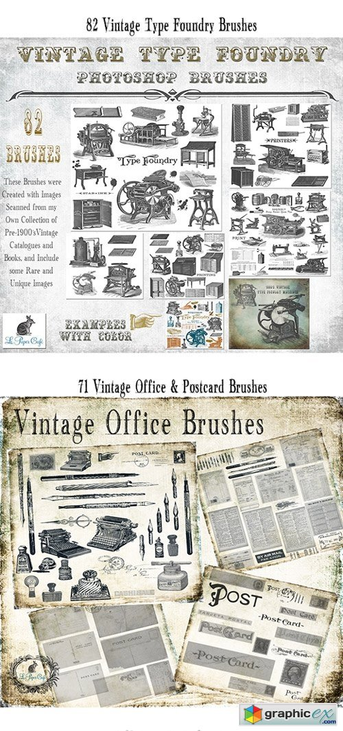 InkyDeals - Gorgeous Vintage PS Brushes & Background Papers