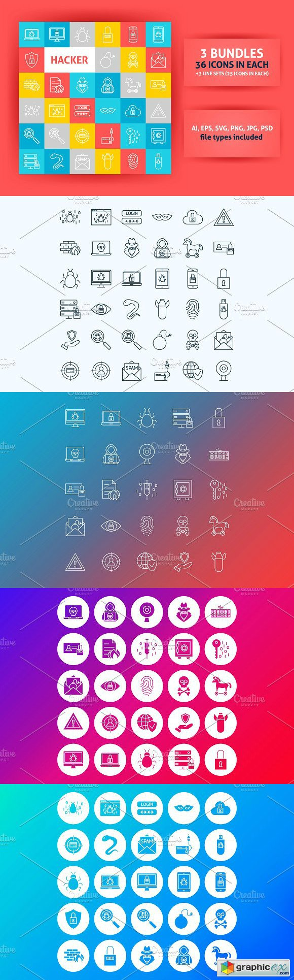 Hacker Line Art Icons