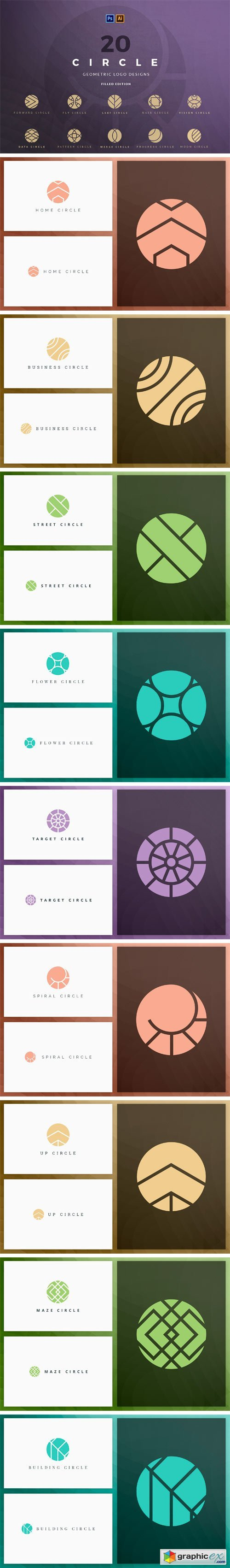 20 Circle Geometric Logos - Filled