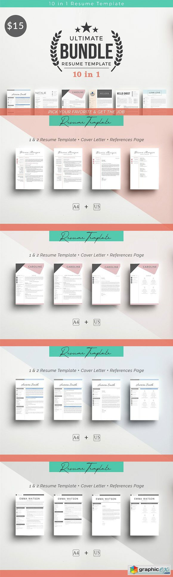 10 in 1 Resume Templates Bundle