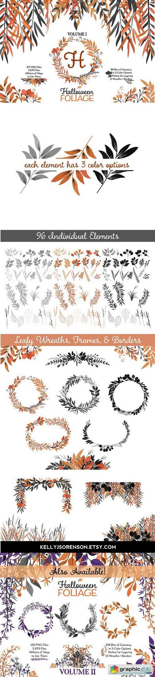 Halloween Leaves and Wreaths