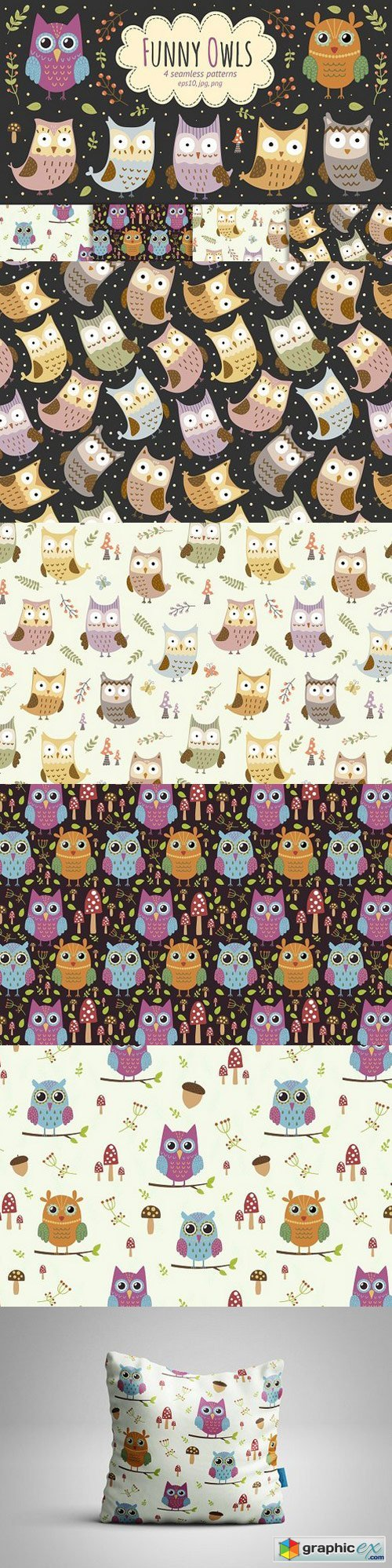 Funny Owls: 4 seamless patterns