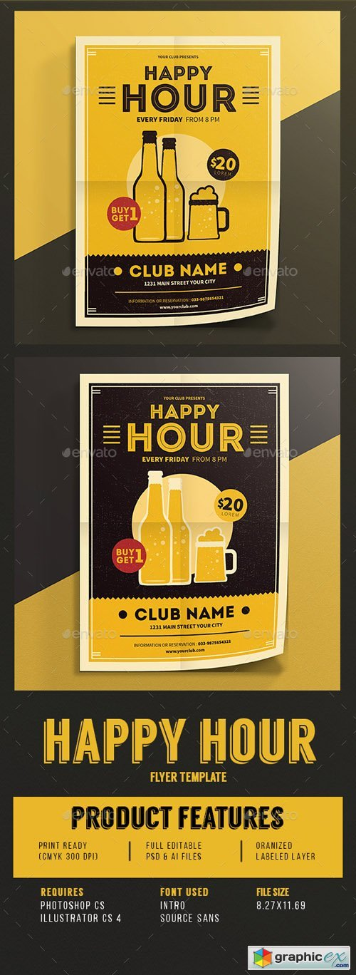 Happy Hour Beer Promotion Flyer Vol.03