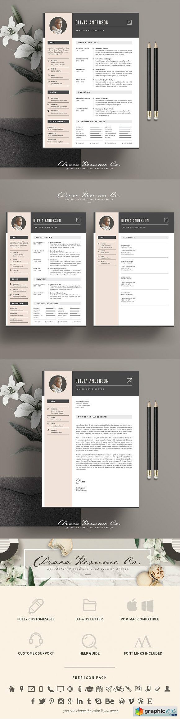 Resume Template 3 Pages Pack OA