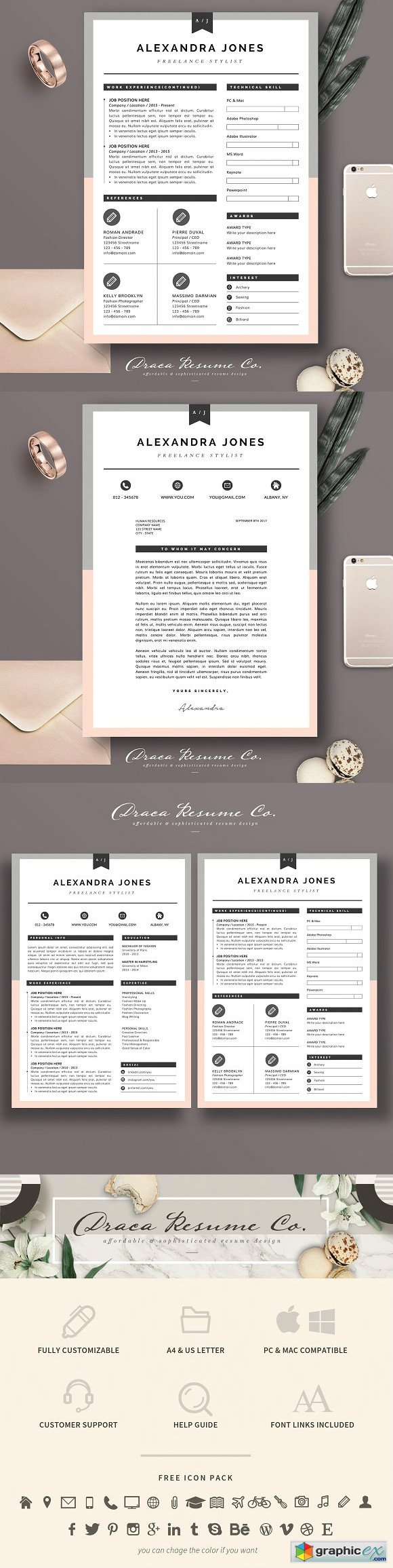 Resume Template 3 page pack AJ
