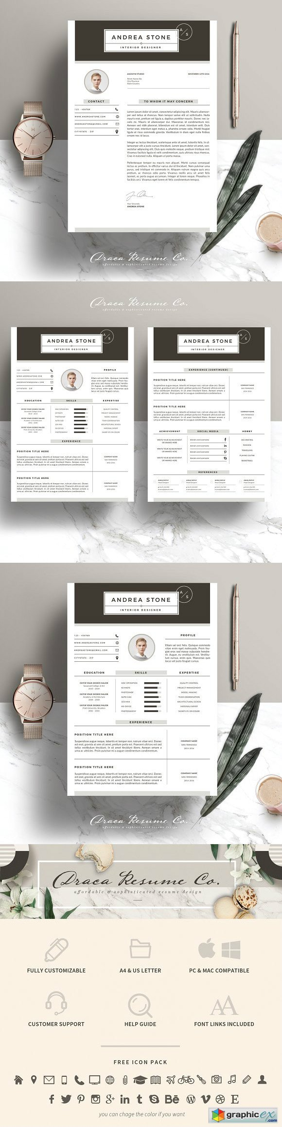 Resume Template 3 Page Pack AS