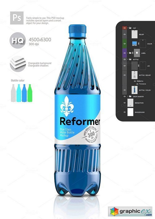 1,5L Water Bottle Mockup