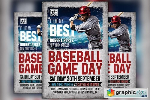 Baseball Game Day Flyer Template