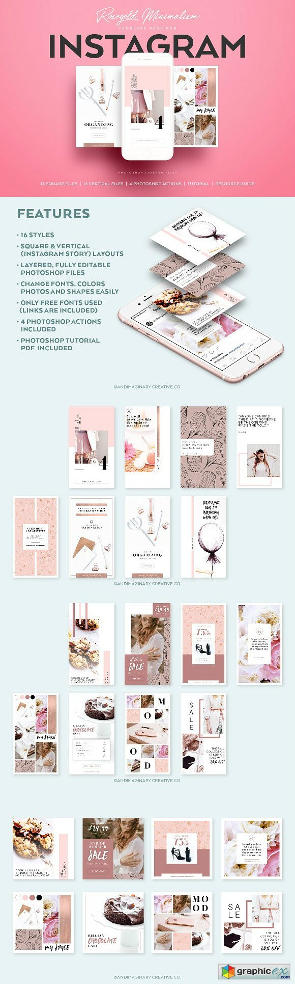 RoseGold Square & Story Templates