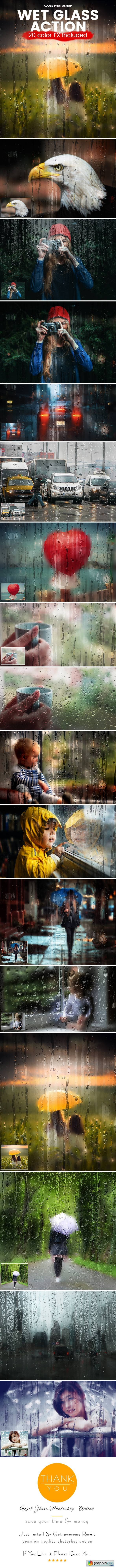 Wet Glass Photoshop Action 20614835