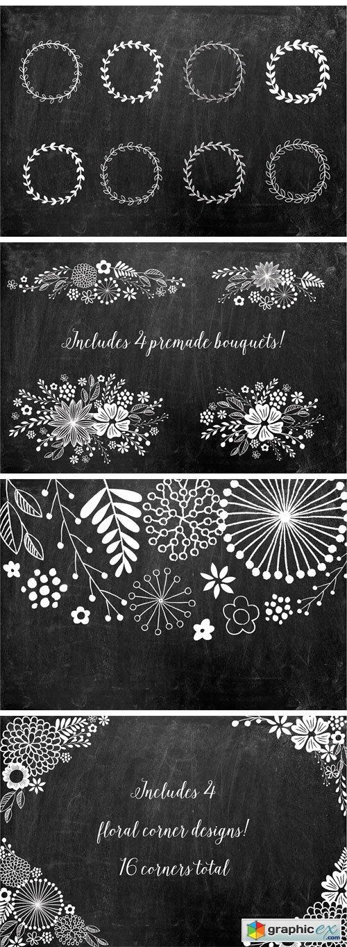 Chalkboard Floral Design Kit, AI PNG