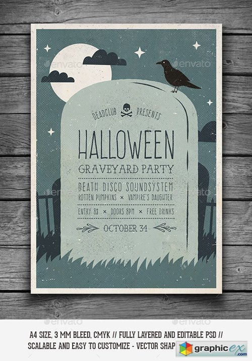 Halloween Graveyard Party Flyer