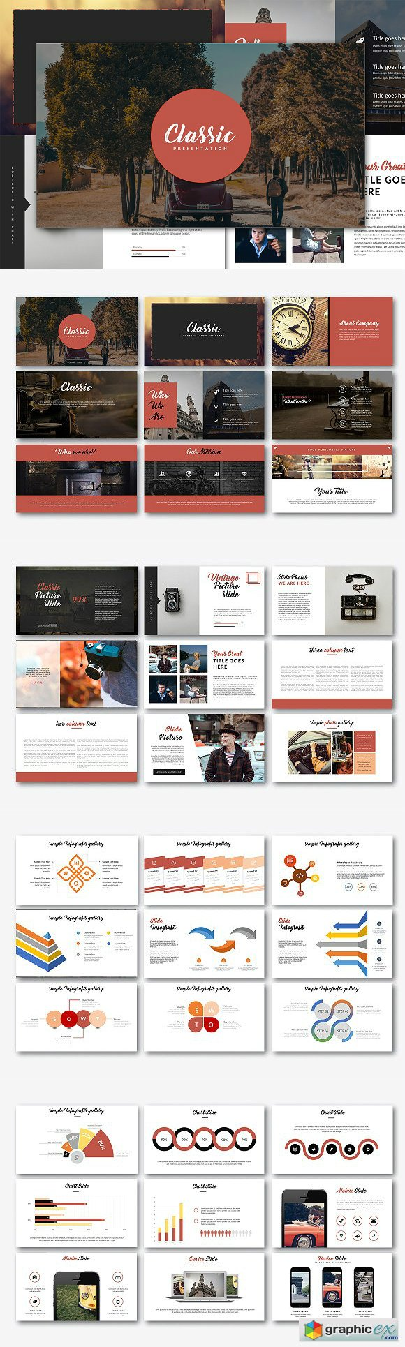 classic powerpoint template » free download vector stock image, Powerpoint templates