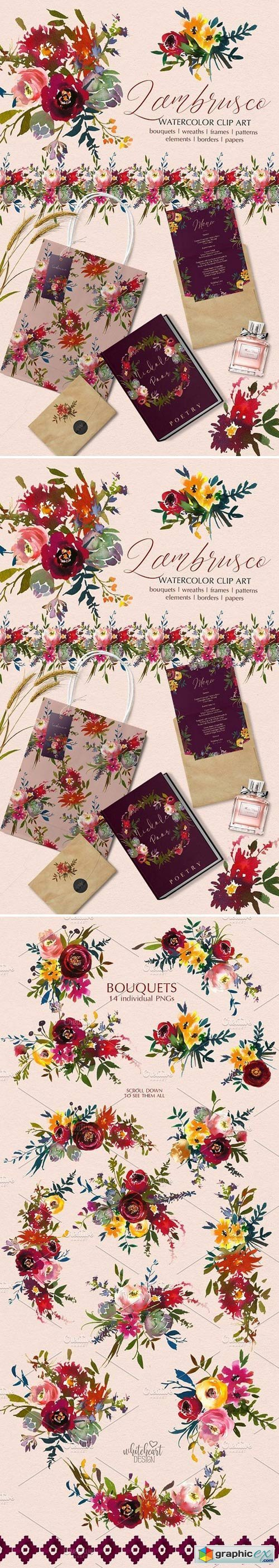 Bordo Watercolor Floral Clip Art Set