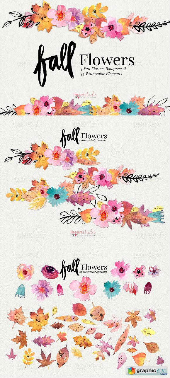 Fall Flower Watercolors