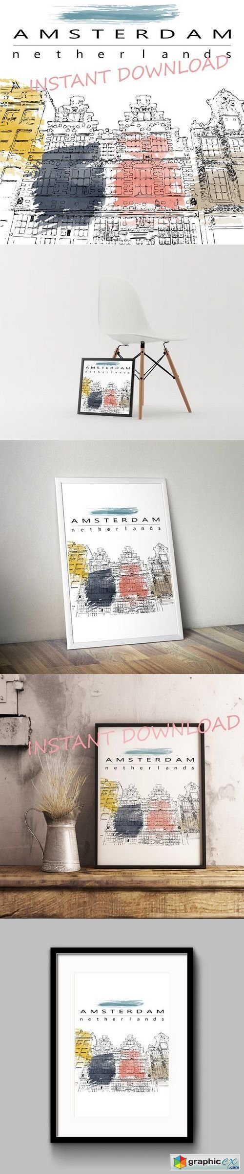 Amsterdam houses sketch illustration
