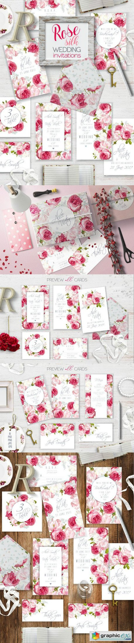Rose Silk Wedding invitations