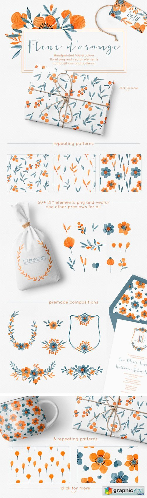 Floral Watercolor Graphics Bundle