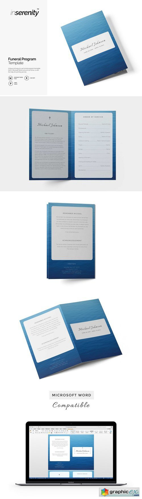 Funeral Program Template Blue Ocean Free Download Vector Stock