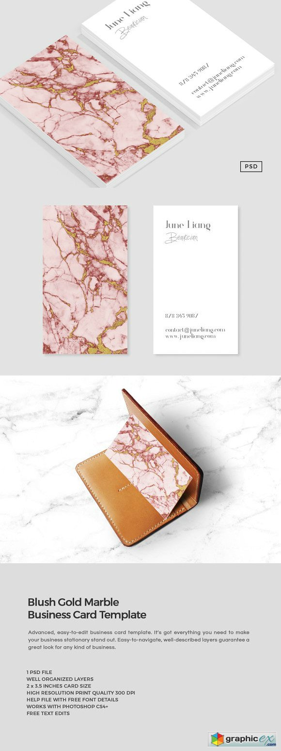 Blush Gold Marble Business Card