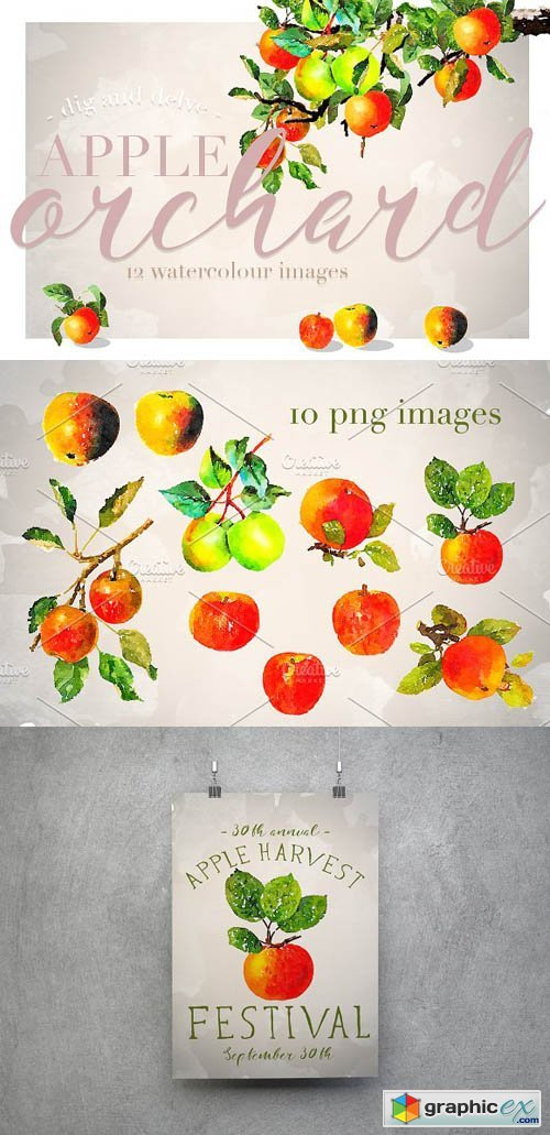 Apple Orchard Watercolour Design Set