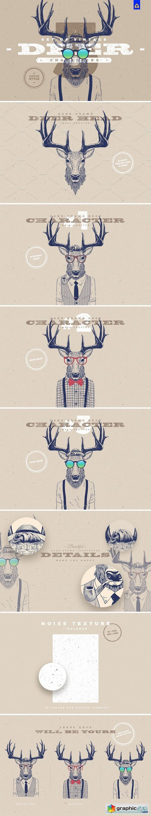 Hipster Deer Characters