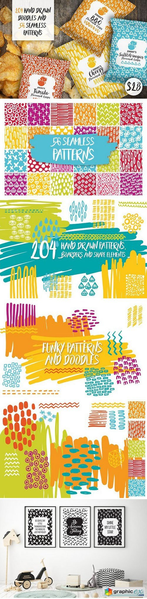 204 Hand Drawn Doodles & 56 Patterns