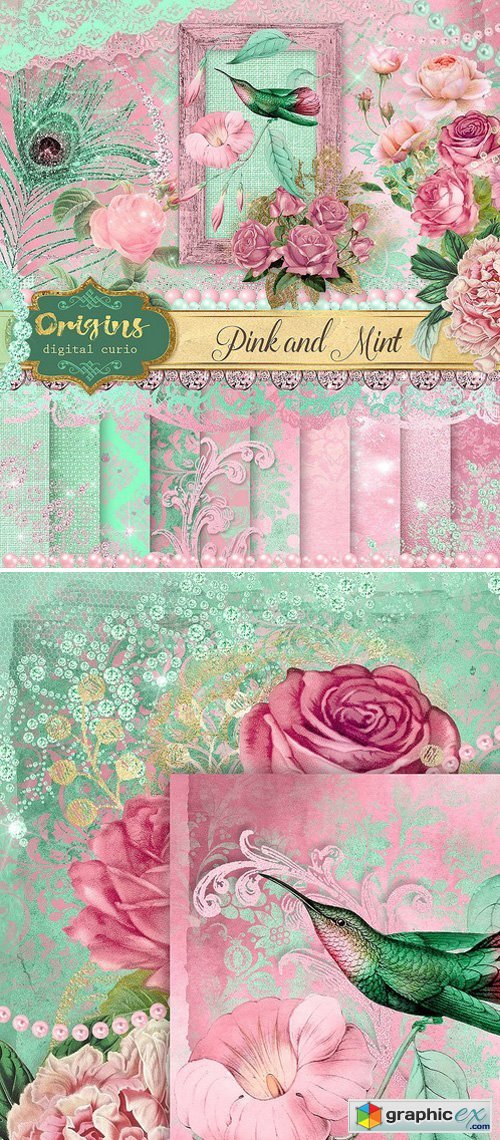 Pink and Mint Digital Scrapbook Kit